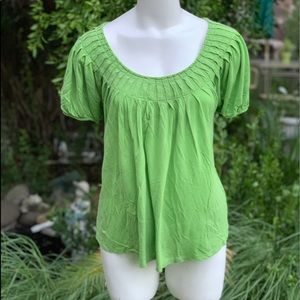 MICHAEL KORS Lime Green Lyocell Shirt Top Sz PL